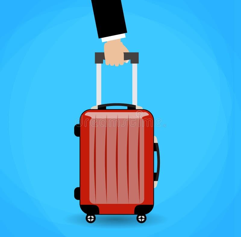 Hand holding red travel bag. stock illustration