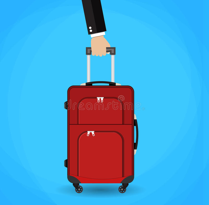 Hand holding red travel bag. stock illustration