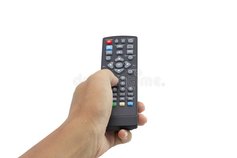 Hand holding remote control isolated on white background stock images