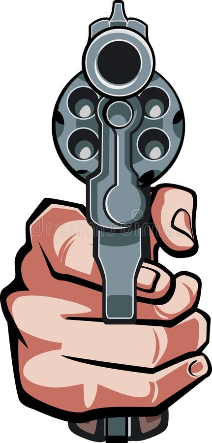 Free Hand Holding Revolver In Front View Stock Image - 160976071