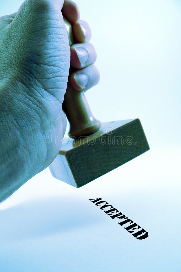 Download Hand Holding Rubber Stamp - Accepted Stock Image - Image: 506655