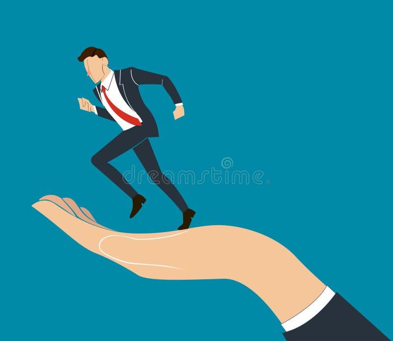 Hand holding running businessman vector. EPS10 stock illustration