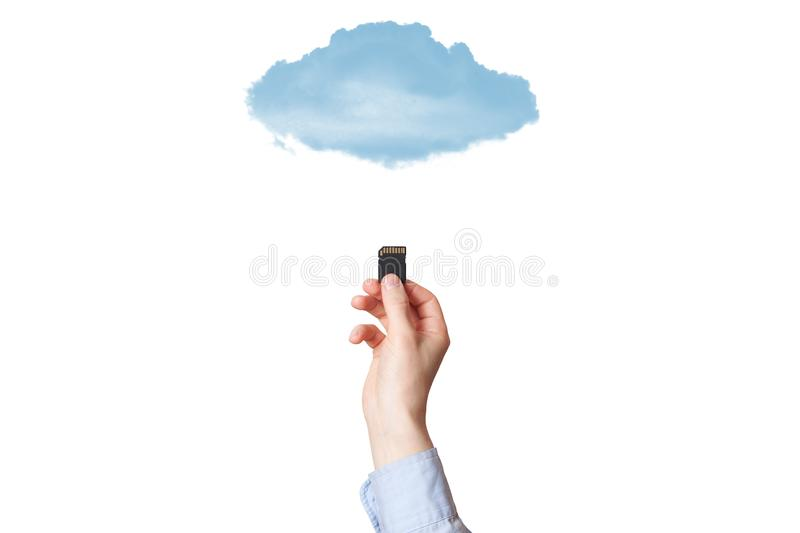 Hand holding SD memory card isolated on white background royalty free stock photo