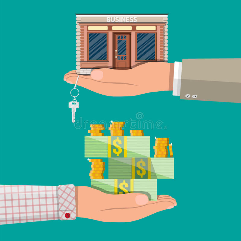 Hand holding shop or commercial property with key. vector illustration