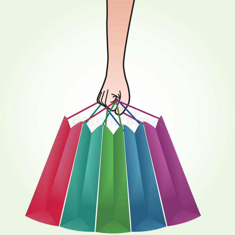 Download Hand Holding Shopping Bag stock vector. Image of items - 19894967