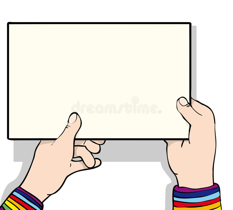 Hand holding sign. Hands holding up a blank sign vector illustration