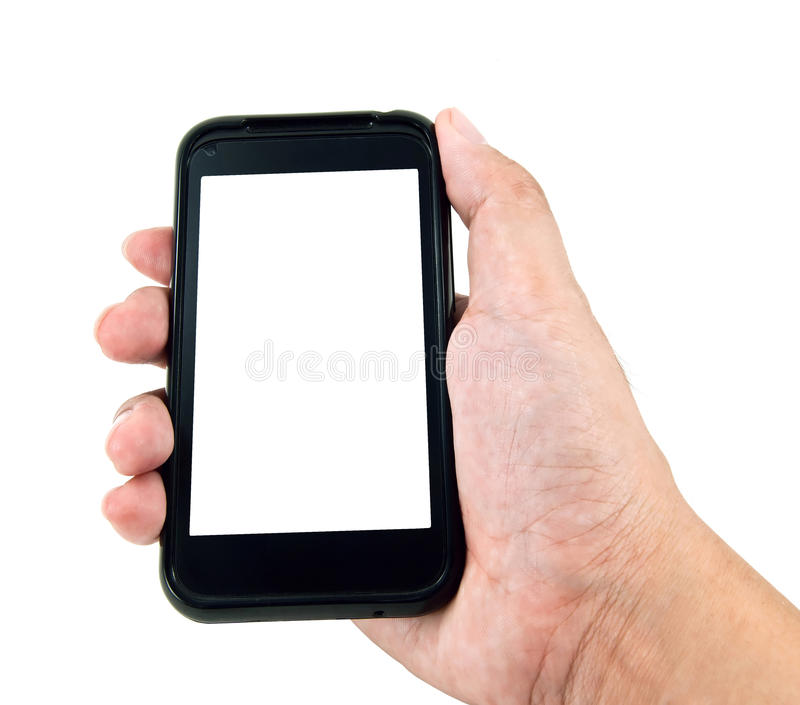Hand holding smart phone. With white screen royalty free stock images