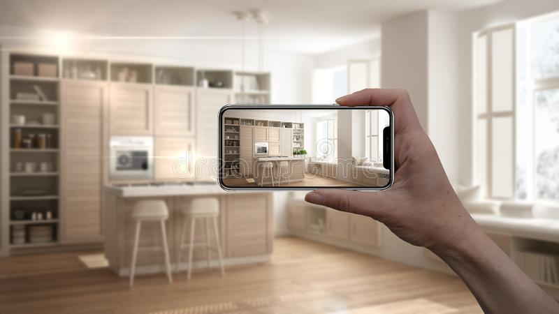 Hand holding smart phone, AR application, simulate furniture and interior design products in real home, architect designer concept. Blur background, modern royalty free illustration