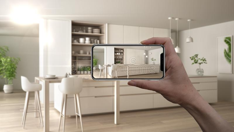 Hand holding smart phone, AR application, simulate furniture and interior design products in real home, architect designer concept vector illustration