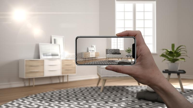 Hand holding smart phone, AR application, simulate furniture and interior design products in real home, architect designer concept royalty free illustration
