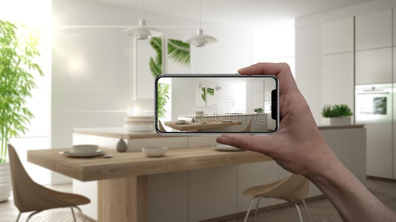 Hand holding smart phone, AR application, simulate furniture and interior design products in real home, architect designer concept stock illustration