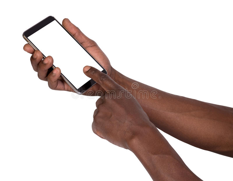 Hand holding smart phone with blank screen royalty free stock photo