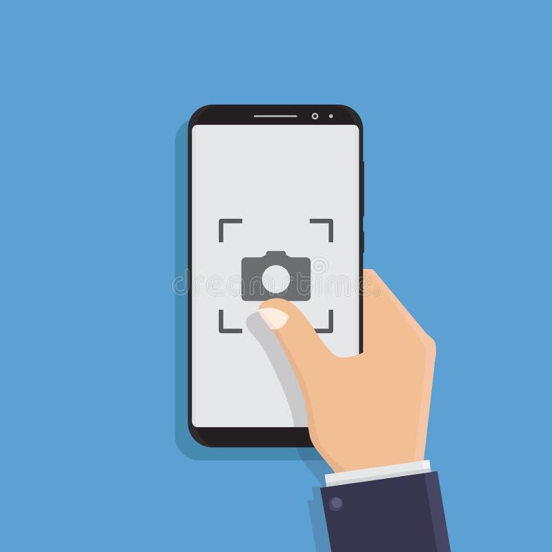 Hand holding smart phone flat design vector illustration. Hand holding smart phone, take pictures, flat design vector illustration stock illustration