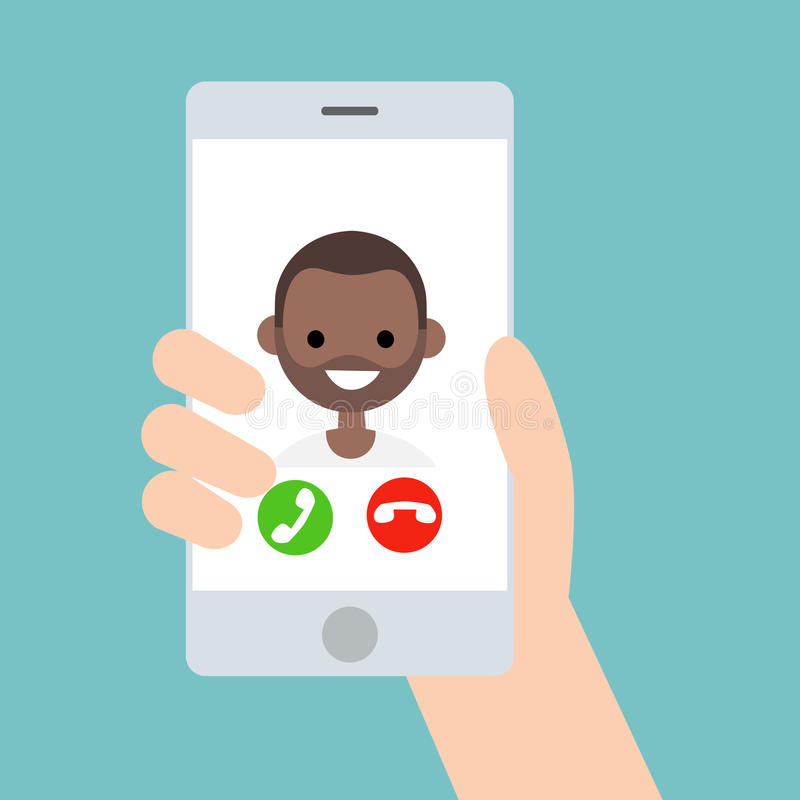 Hand holding a smart phone. Incoming call from young black boy/ vector illustration
