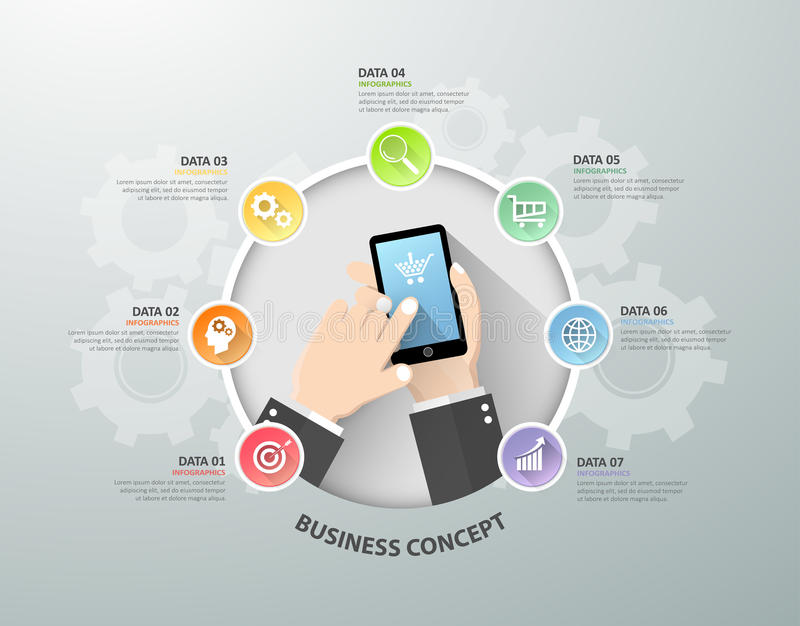 Hand holding smart phone infographic template, Business concept. Infographic can be used for workflow layout, diagram, number options, timeline or milestones stock illustration