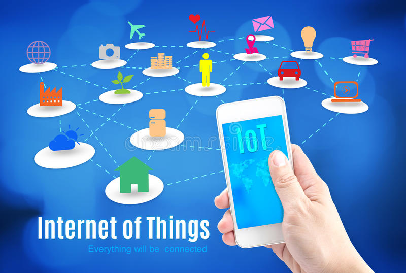 Hand holding smart phone with Internet of things (IoT) word and vector illustration
