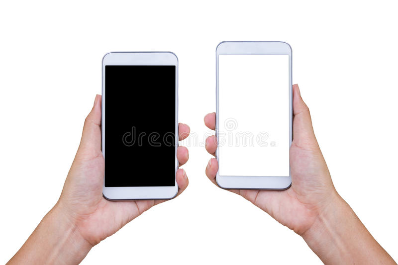 Hand holding smart phone isolated on white background. royalty free stock photography