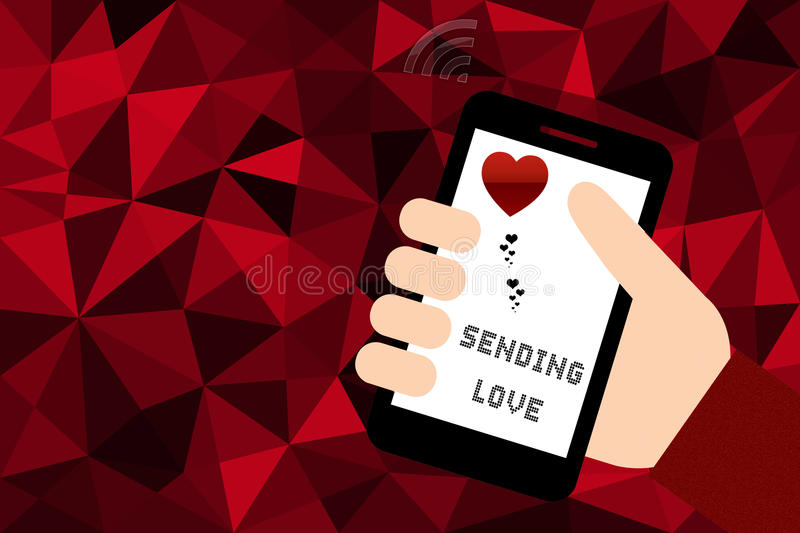 Hand holding smart phone over red low poly background stock illustration