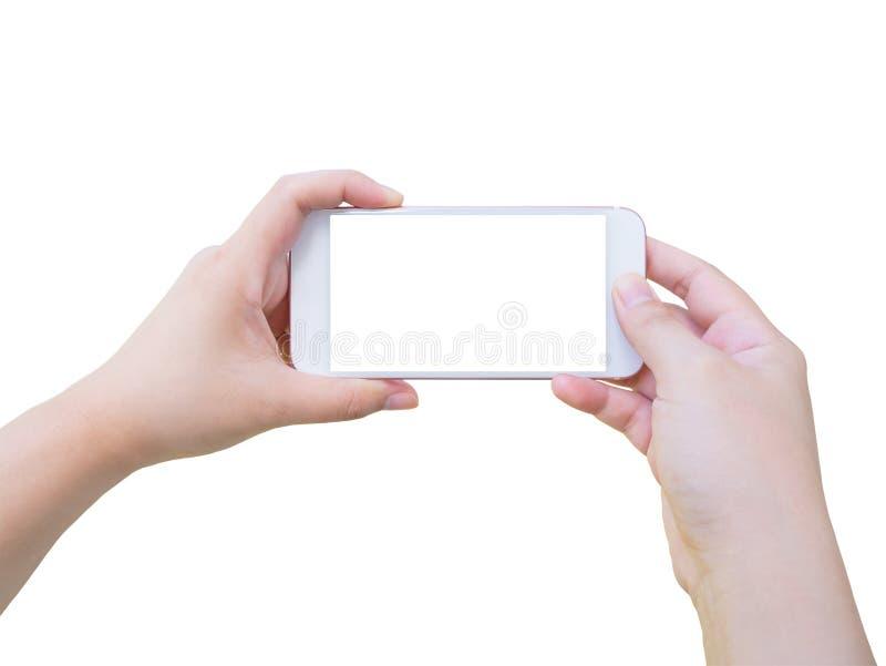 Hand holding smart phone taking photo isolated on white royalty free stock photography