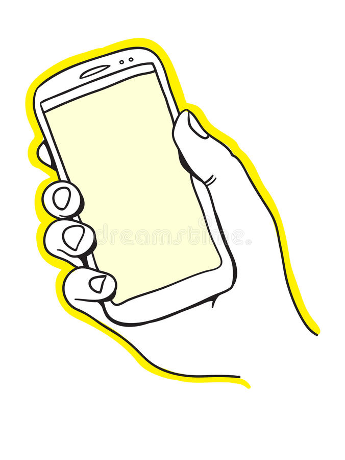 Download Hand holding smart phone stock vector. Image of mobility - 31609558