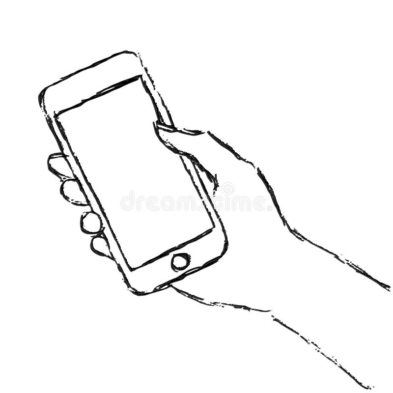 Hand holding smart phone royalty free illustration