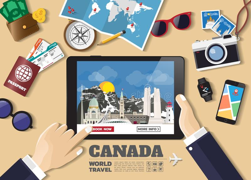 Hand holding smart tablet booking travel destination.Canada famous places.Vector concept banners in flat style with the set of. Traveling objects, accessories royalty free illustration