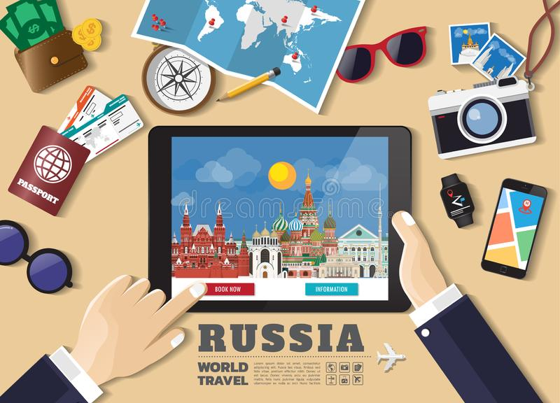 Hand holding smart tablet booking travel destination.Russia famous places.Vector concept banners in flat style with the set of stock illustration
