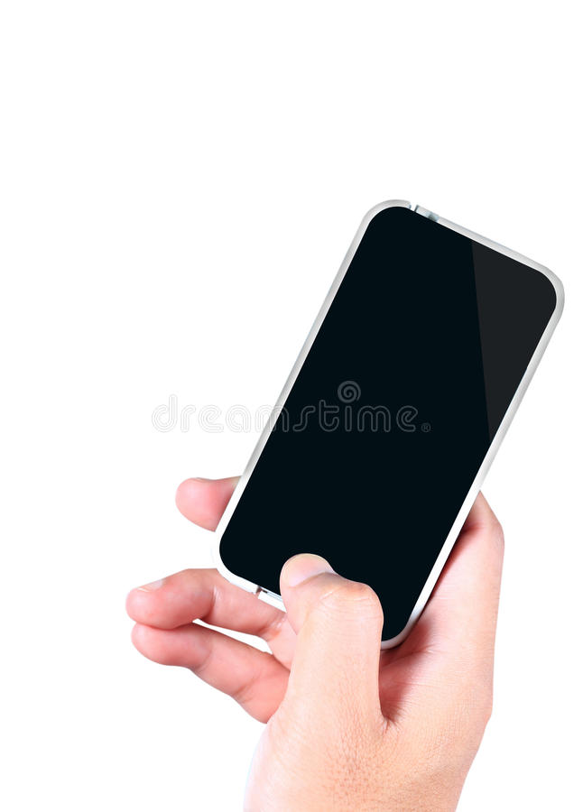 Download Hand holding a smartphone stock photo. Image of message - 25480720