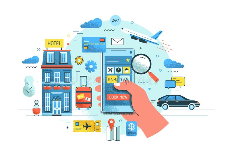 Hand holding smartphone against hotel building, flying plane, riding car and suitcase on background. Concept of online. Service for early booking. Colorful stock illustration