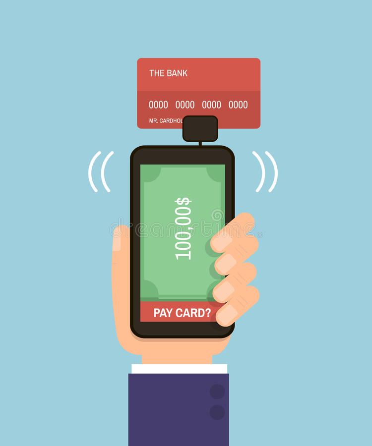 Hand holding smartphone with bank card. Mobile pay credit card. Flat Vector Illustration royalty free illustration
