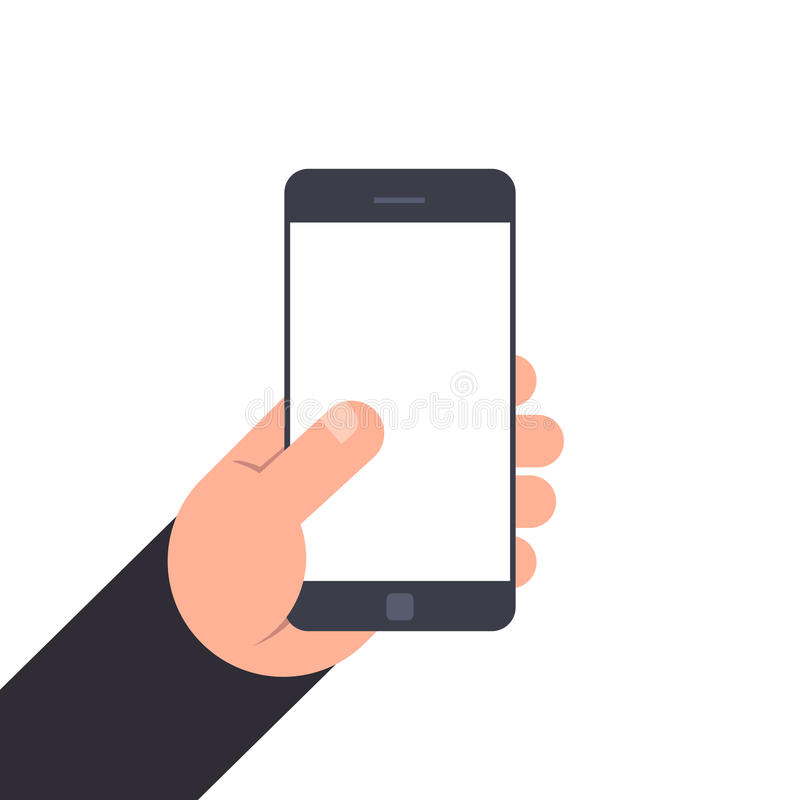 Hand holding smartphone with blank screen. Flat illustration isolated on white background. Mockup for design. stock illustration