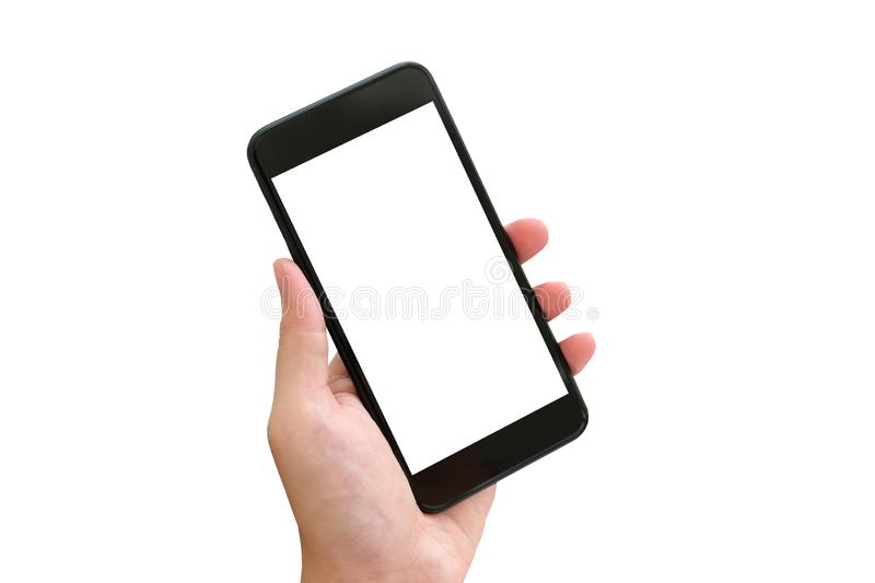 Hand holding smartphone with blank screen isolated on white background, people and technology mockup stock images