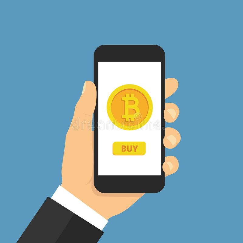 Hand holding smartphone with buy bitcoin. Online crypto payment concept. Flat style - stock vector stock illustration