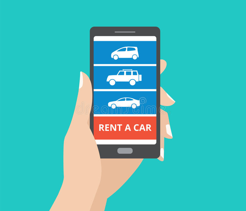 Hand holding smartphone with car icons and rent a car button on screen. Design concept of car hire mobile application. Flat design vector illustration royalty free illustration