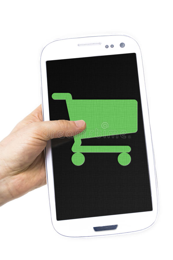 Hand holding smartphone cart sign screen stock photography