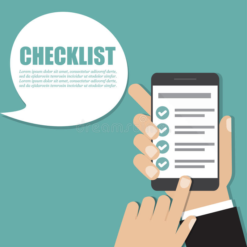 Hand holding smartphone with checklist. Vector illustration vector illustration