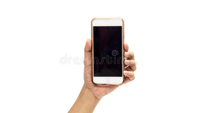 Hand holding smartphone with cracked screen white background royalty free stock photo