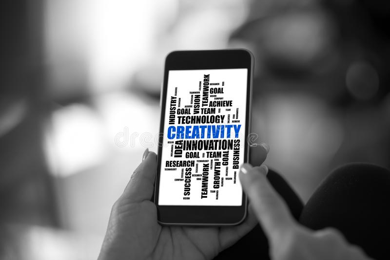 Creativity word cloud concept on a smartphone stock image
