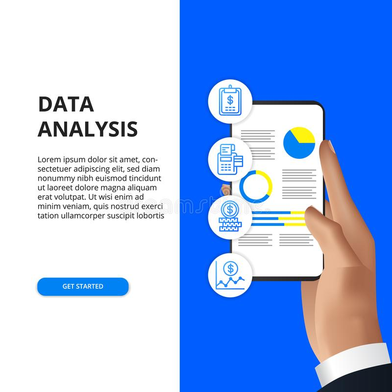 Mobile app data analysis from chart, graph, statistic for business, finance, report. Hand holding smartphone with data chart graph analysis with finance icon for vector illustration