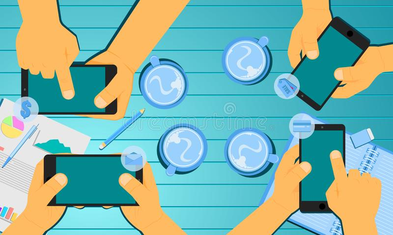 Hand holding smartphone element to shopping money credit bank checking email. vector illustration eps10 royalty free illustration