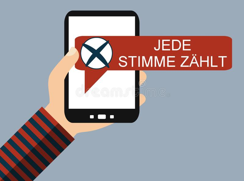 Mobile Phone: Every vote counts german- Flat Design. Hand holding Smartphone: Every vote counts in german language- Flat Design stock illustration