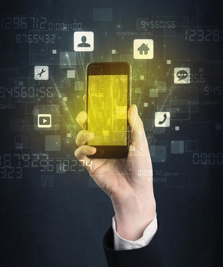 Hand holding smartphone with golden screen stock images