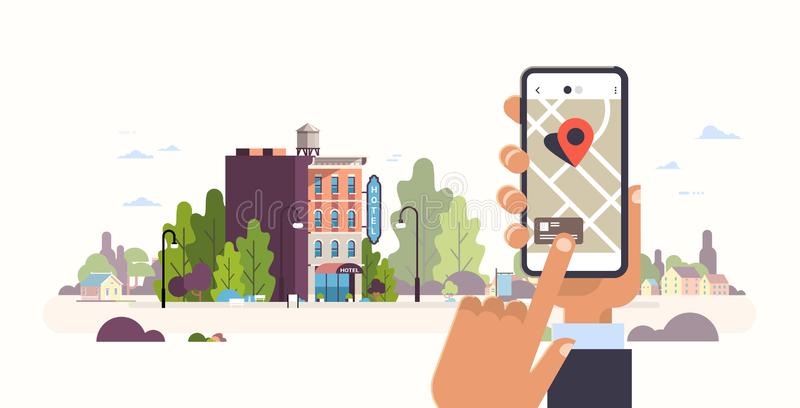 Hand holding smartphone hotel booking concept hostel building exterior mobile app gps searching point on city map vector illustration