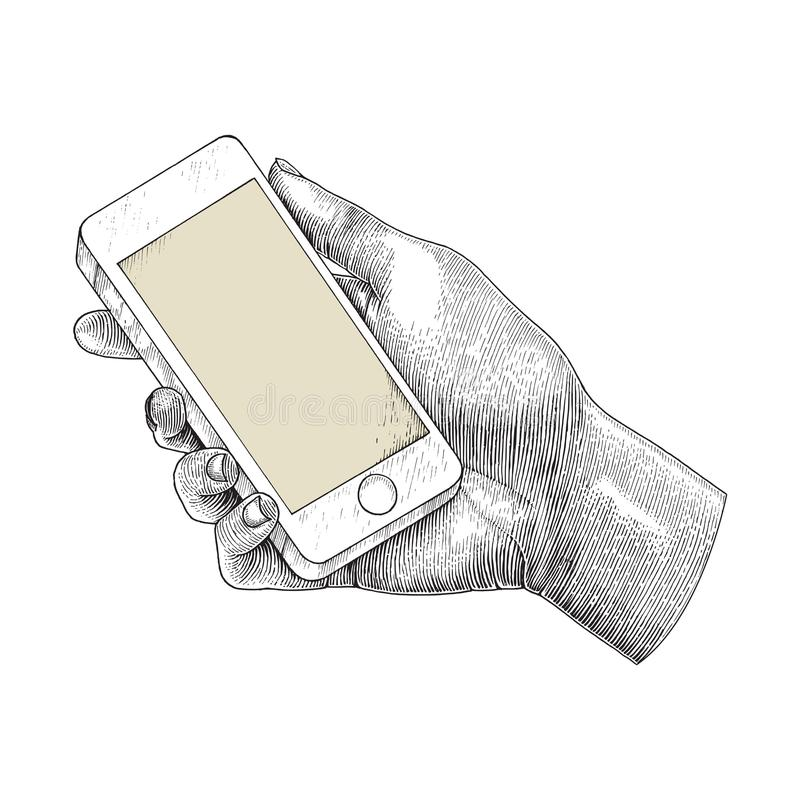 Hand holding smartphone,Human hand drawing engraving illustration vector illustration