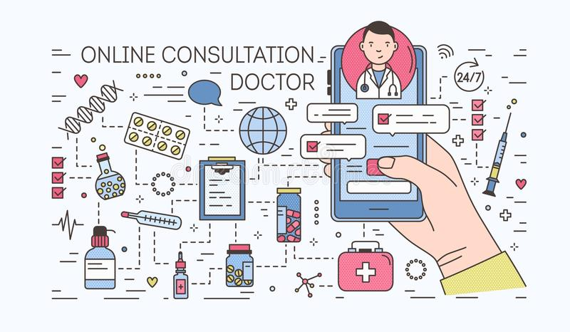 Hand holding smartphone with internet chat with doctor on screen against pills and medicines on background. Medical. Online consultation. Colorful banner in vector illustration