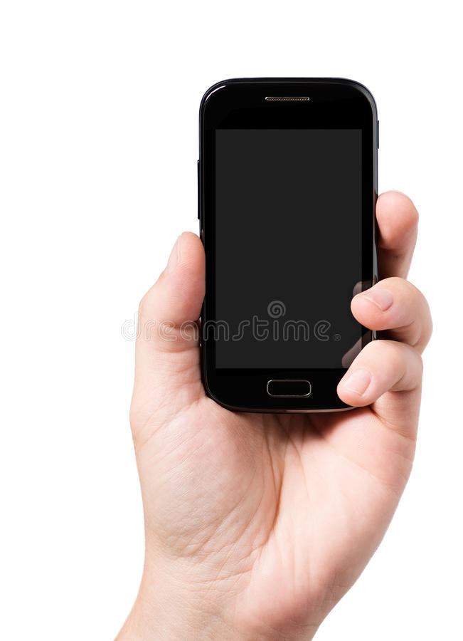 Hand holding smartphone stock photography