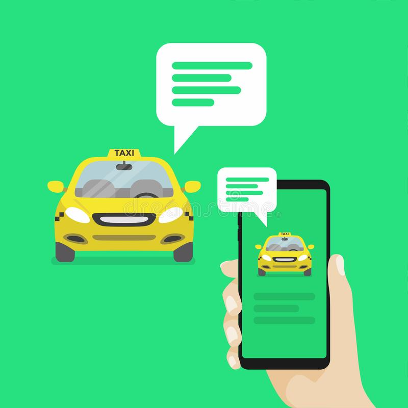 Hand holding smartphone with message notifications and approaching cab. Vector royalty free illustration