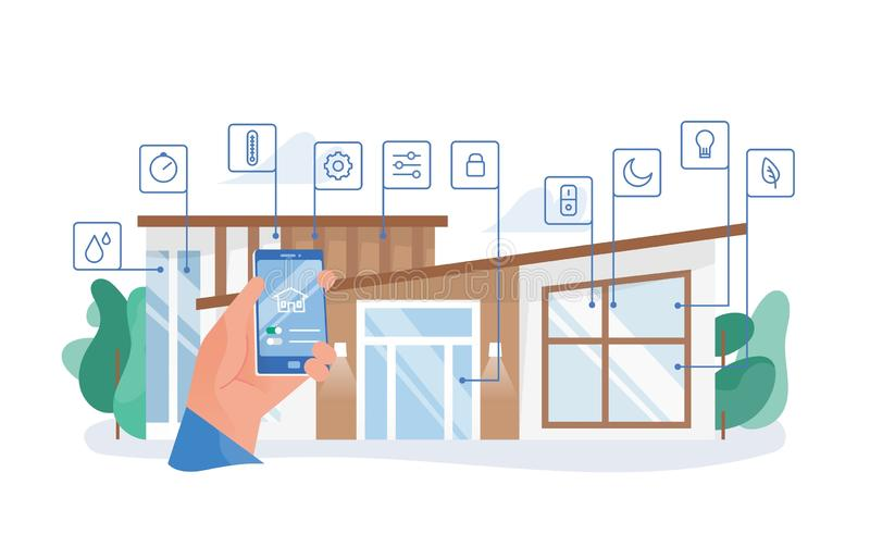 Hand holding smartphone with mobile application for house automation against residential building on background. Smart vector illustration
