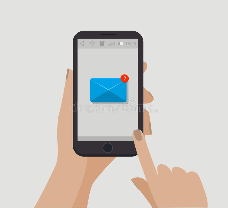 Hand holding smartphone. New email concept. Vector illustration. Counter notification. New message. Unread message. stock illustration