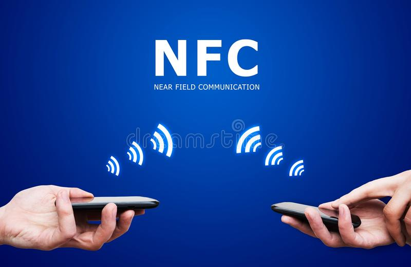Hand Holding Smartphone With NFC Technology Royalty Free Stock Image